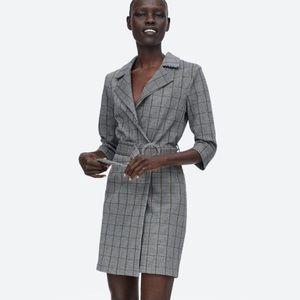 Belted Plaid Blazer Dress
